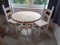 Upcycle project...Solid wood round country style table and 2 chairs suitable