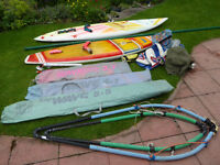 Windsurfers: 2 short boards, three sails, mast and accessories