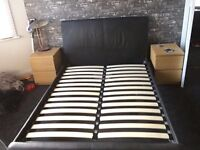 Double Brown Leather Bed Frame with sprung slats