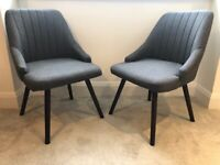 2 x Charcoal Grey Dining Chairs - Must be sold as a pair £75.00