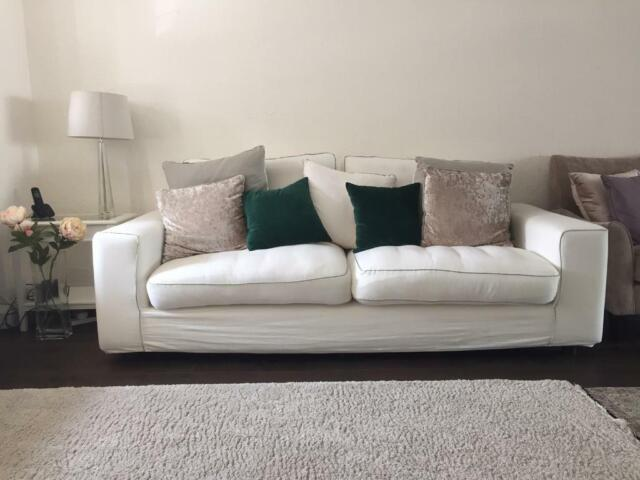 Marvelous 3 Seater Fabric White Sofa X 2 In Redbridge London Gumtree Machost Co Dining Chair Design Ideas Machostcouk