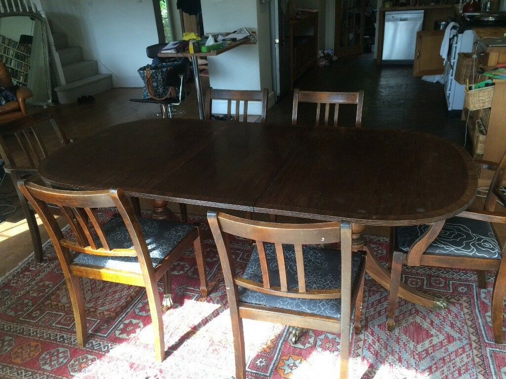 Solid Mahogany Period Extendable Dining Table And 6 Chairs Make An Offer