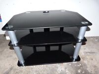 TV Stand Unit Black and Silver Glass Excellent Condition