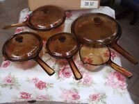 FRENCH CORNING PYREX VISION GLASS PAN SET UN USED AND BOXED