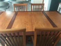 Dining table, 6 upholstered chairs and matching sideboard