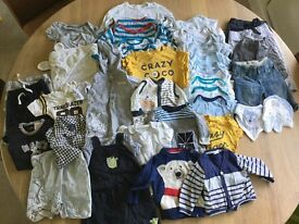 Massive bundle of over 45 items of baby boy 0-6 months clothes