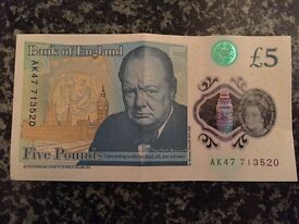 Unique AK47 new collectible five pound note in good condition