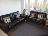 3 Seater & 2 Seater Dark Brown Leather Sofas Including Foot Stool With Storage