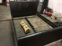 Brown leather kingsize bed frame