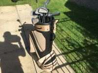 Golf clubs and bag,balls tees etc