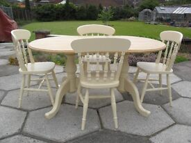 Shabby Chic Farmhouse Country Oval Solid Pine Table and 4 Chairs In Farrow & Ball Cream No 67