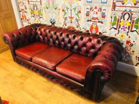 vintage red leather chesterfield sofa settee office mancave