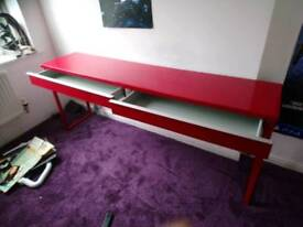 Ikea glossy red long desk