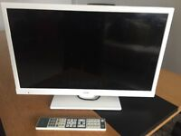 TV smart television built in with DVD white