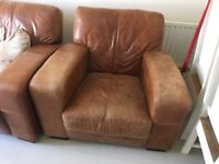 DFS leather corner sofa and arm chair.