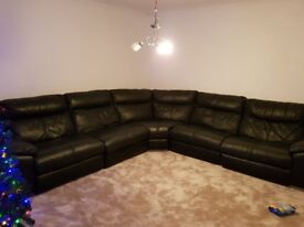 8 seater black leather corner couch