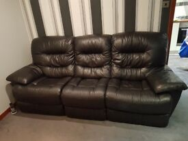 Brown leather sofa and electric reclining chair