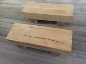 Solid oak coffee tables / media units / benches