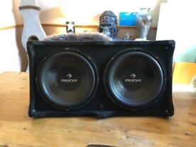 Auna Double Subwoofer, Amp & Cables all unopened.