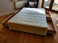 SPRUNG DOUBLE DIVAN BED WITH 4 STORAGE DRAWERS - MATTRESS NOT INCLUDED