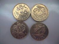 Set of 4 Flower and Emblem £ coins