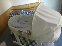 Babies Moses Basket + rocking stand *as good as new* £15