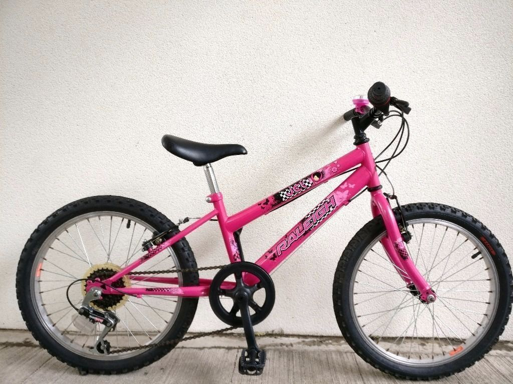 "FREE Lights with (2547) 20"" 11"" RALEIGH GIRLS MOUNTAIN HYBRID BIKE BICYCLE Age:6-9 Height: 120-135cm"