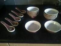 Set of chinese bowls and spoons