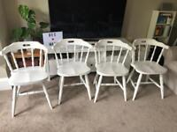 4x solid wood vintage white chairs