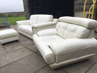 Ivory 3.5+1 Italian Violino leather sofas DELIVERY AVAILABLE