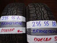 matching pair of 235 55 18 bridgestones 7mm tread £70 pair supp & fittd (LOADS MORE AV SUNDAY 5PM)