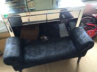 Black damask print chaise stool