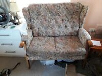 Free small sofa and matching chair. Good condition for age. Few marks. Solid