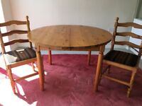 Pine Dining Table (extendable) and Four Chairs