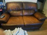 2 2 seater brown leather sofas for sale