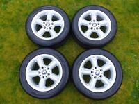 "Genuine BMW Alloy Wheels with Tyres 225/50 16"" x 7J Z3 E36 alloys"