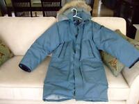 Sears steel-blue, down-filled winter coat, size 36 - 3/4 length