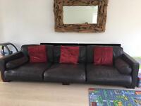 Brown leather sofa 4+ seater