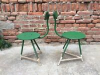 Set of 2 Factory Metal Frame Chairs Machinists Seats Industrial Seating - Rare