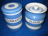 A PAIR OF CERAMIC STORAGE JARS