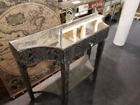 Black and silver glass console table