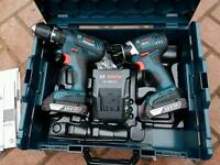 BOSCH 18v COMBINATION DRILL & IMPACT DRIVER SET (NEW)