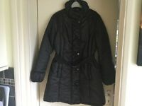 As new black quilted three quarter jacket 16