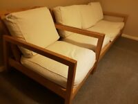 IKEA LILLBERG Three seater sofa and 2 Armchair white birch wood frame
