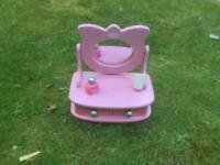 Wooden dressing table mirror for small girls with accessories.