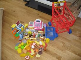 Kids shopping items/ play & Shopping game (cashier, trolley, basket, scales, food, fruit etc)