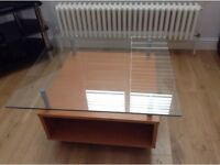Modern IKEA glass topped coffee table