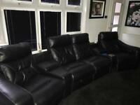 Black leather cinema sofa