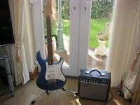 Yamaha Pacific Electric Guitar and Fender 15 watt amp