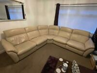 Leather corner couch sofa